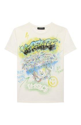 Детская хлопковая футболка VERSACE белого цвета, арт. 1000129/1A00189/8A-14A | Фото 1