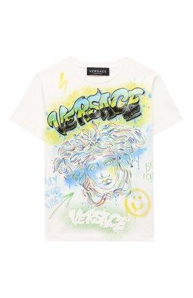 Детская хлопковая футболка VERSACE белого цвета, арт. 1000129/1A00189/4A-6A | Фото 1