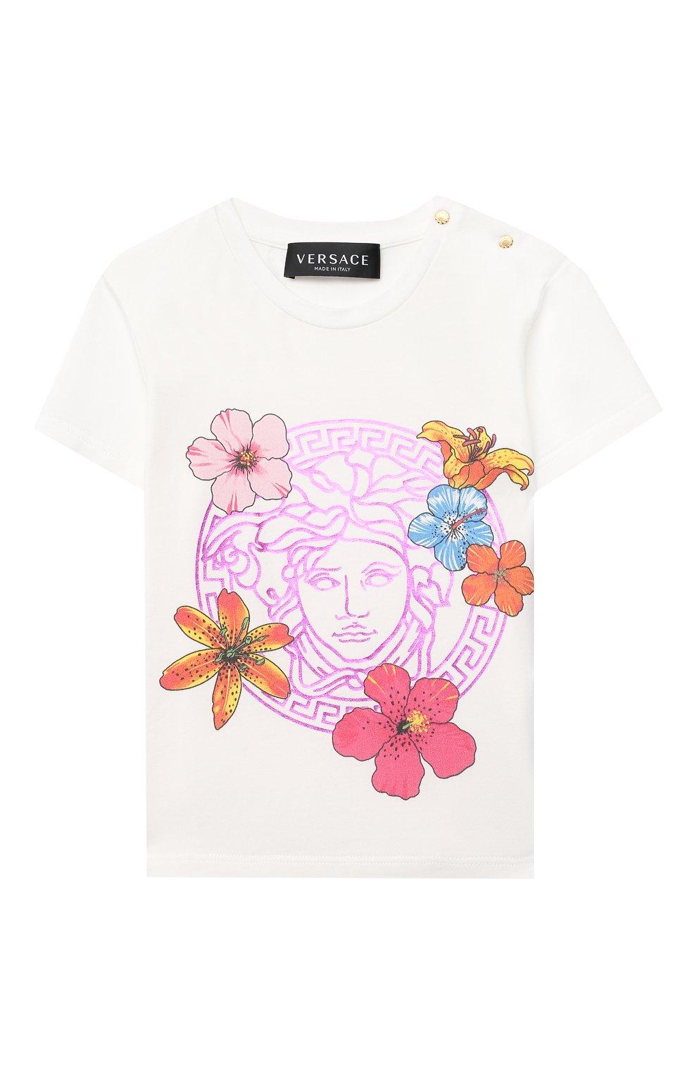 Детский хлопковая футболка VERSACE белого цвета, арт. 1000152/1A00121 | Фото 1