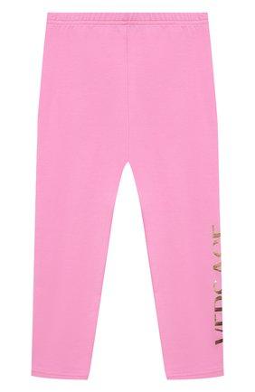 Детские хлопковые леггинсы VERSACE розового цвета, арт. 1000205/1A00328 | Фото 1