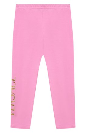 Детские хлопковые леггинсы VERSACE розового цвета, арт. 1000205/1A00328 | Фото 2