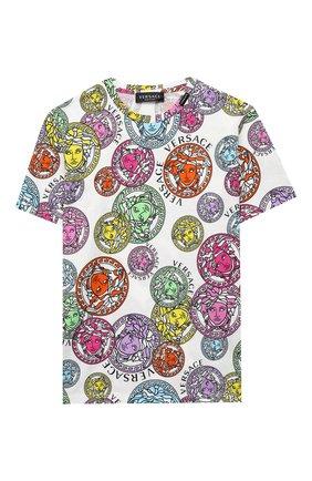 Детская хлопковая футболка VERSACE разноцветного цвета, арт. 1000239/1A00285/8A-14A | Фото 1
