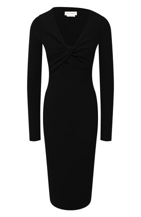 Женское шерстяное платье ALEXANDER MCQUEEN черного цвета, арт. 650269/Q1AR9 | Фото 1