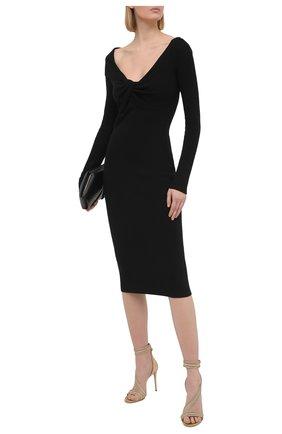 Женское шерстяное платье ALEXANDER MCQUEEN черного цвета, арт. 650269/Q1AR9 | Фото 2