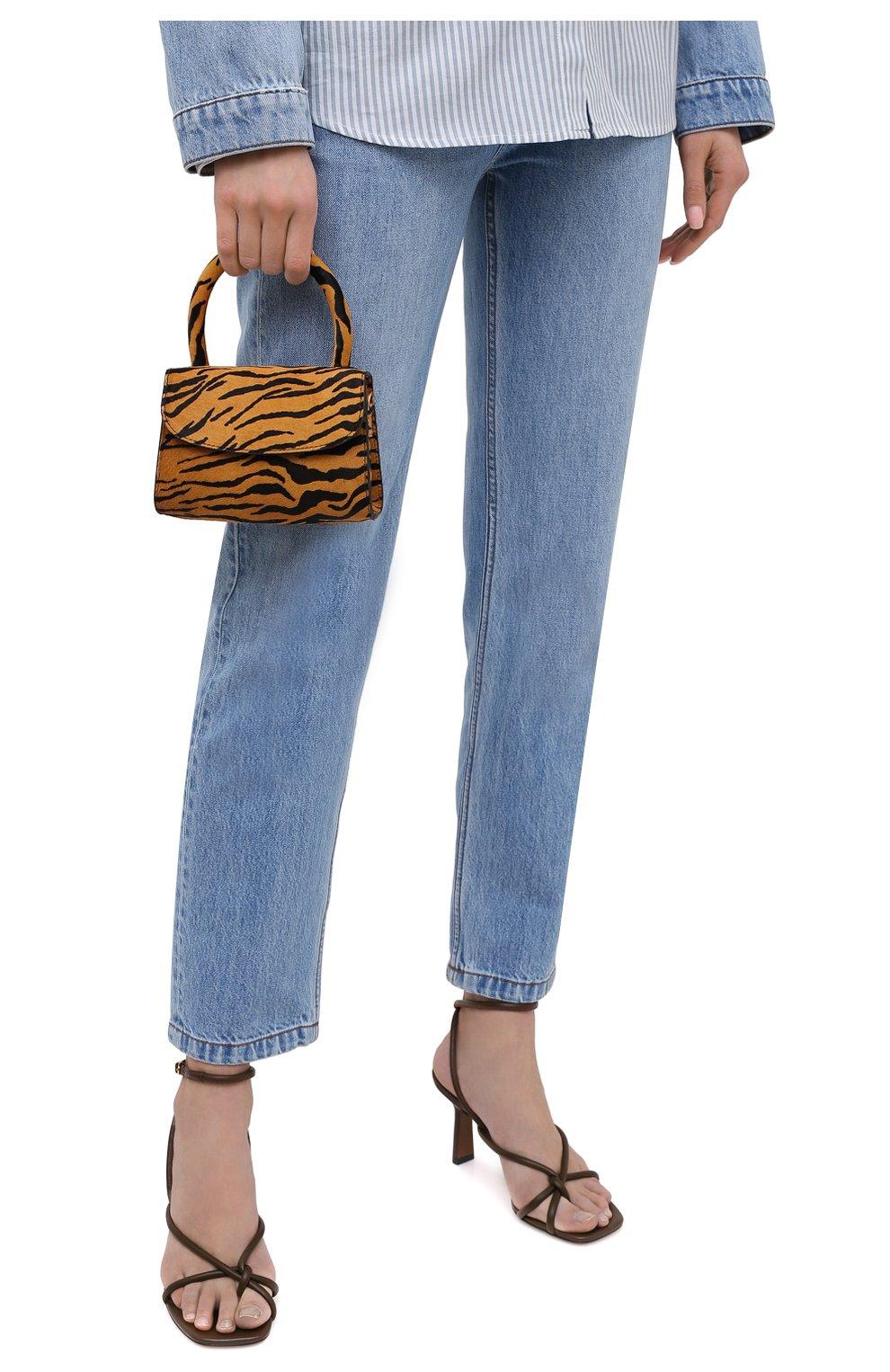 Женская сумка BY FAR коричневого цвета, арт. 21CRMINATGPYSMA | Фото 2 (Сумки-технические: Сумки через плечо, Сумки top-handle; Материал: Натуральная кожа, Натуральная замша; Размер: mini; Ремень/цепочка: На ремешке)