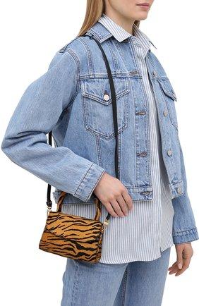 Женская сумка BY FAR коричневого цвета, арт. 21CRMINATGPYSMA | Фото 5 (Сумки-технические: Сумки через плечо, Сумки top-handle; Материал: Натуральная кожа, Натуральная замша; Размер: mini; Ремень/цепочка: На ремешке)