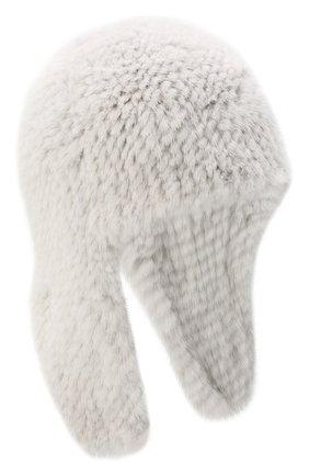 Женская шапка-ушанка из меха норки KUSSENKOVV светло-серого цвета, арт. 91650008433 | Фото 1