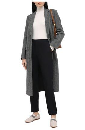 Женские кожаные лоферы BRUNELLO CUCINELLI кремвого цвета, арт. MZBGC1961 | Фото 2 (Каблук высота: Низкий; Подошва: Плоская; Материал внутренний: Натуральная кожа)