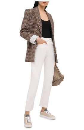 Женские кожаные кеды BRUNELLO CUCINELLI светло-бежевого цвета, арт. MZBGG1392 | Фото 2