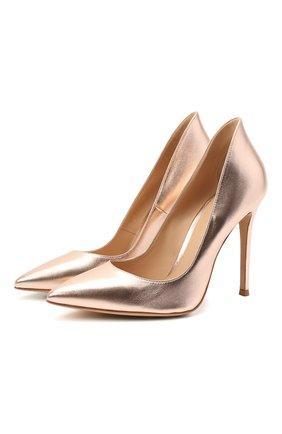 Женские кожаные туфли ellipsis GIANVITO ROSSI бежевого цвета, арт. G20730.15RIC.NPSPRAL   Фото 1