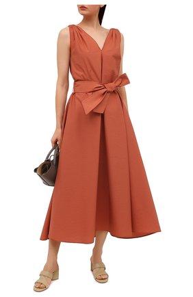 Женское хлопковое платье BRUNELLO CUCINELLI оранжевого цвета, арт. M0F79A4538 | Фото 2