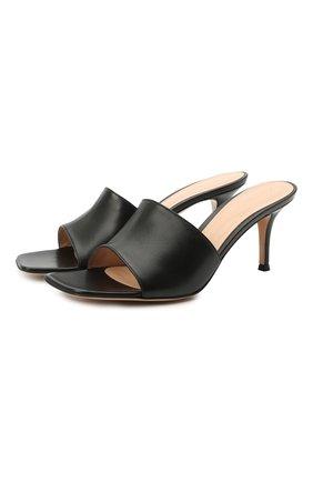 Женские кожаные мюли GIANVITO ROSSI черного цвета, арт. G19710.70RIC.NAPNER0 | Фото 1 (Подошва: Плоская; Материал внутренний: Натуральная кожа; Каблук высота: Средний; Каблук тип: Шпилька)