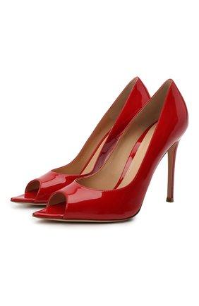Женские кожаные туфли musa GIANVITO ROSSI красного цвета, арт. G50614.15RIC.VERTABS | Фото 1