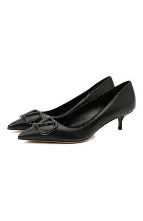 Женские кожаные туфли valentino garavani vlogo VALENTINO черного цвета, арт. VW2S0Q63/MZF | Фото 1
