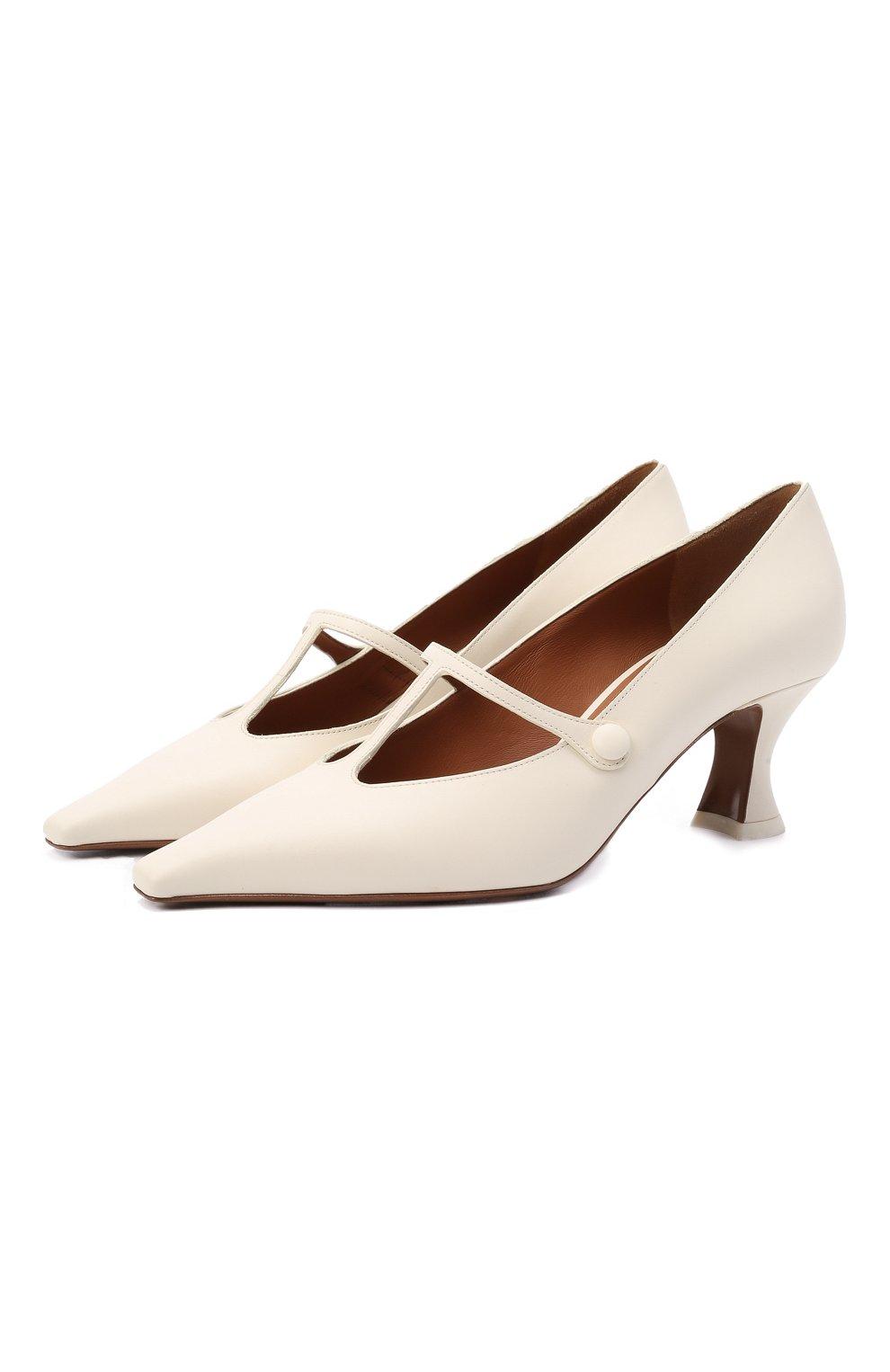 Женские кожаные туфли segin NEOUS белого цвета, арт. 00253A10   Фото 1 (Материал внутренний: Натуральная кожа; Каблук высота: Средний; Каблук тип: Устойчивый; Подошва: Плоская)