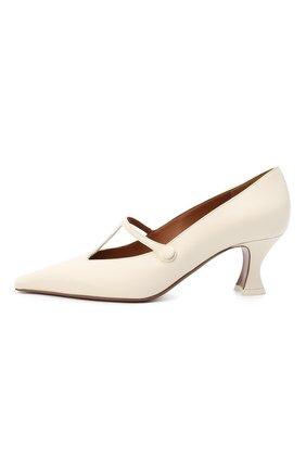 Женские кожаные туфли segin NEOUS белого цвета, арт. 00253A10   Фото 3 (Материал внутренний: Натуральная кожа; Каблук высота: Средний; Каблук тип: Устойчивый; Подошва: Плоская)
