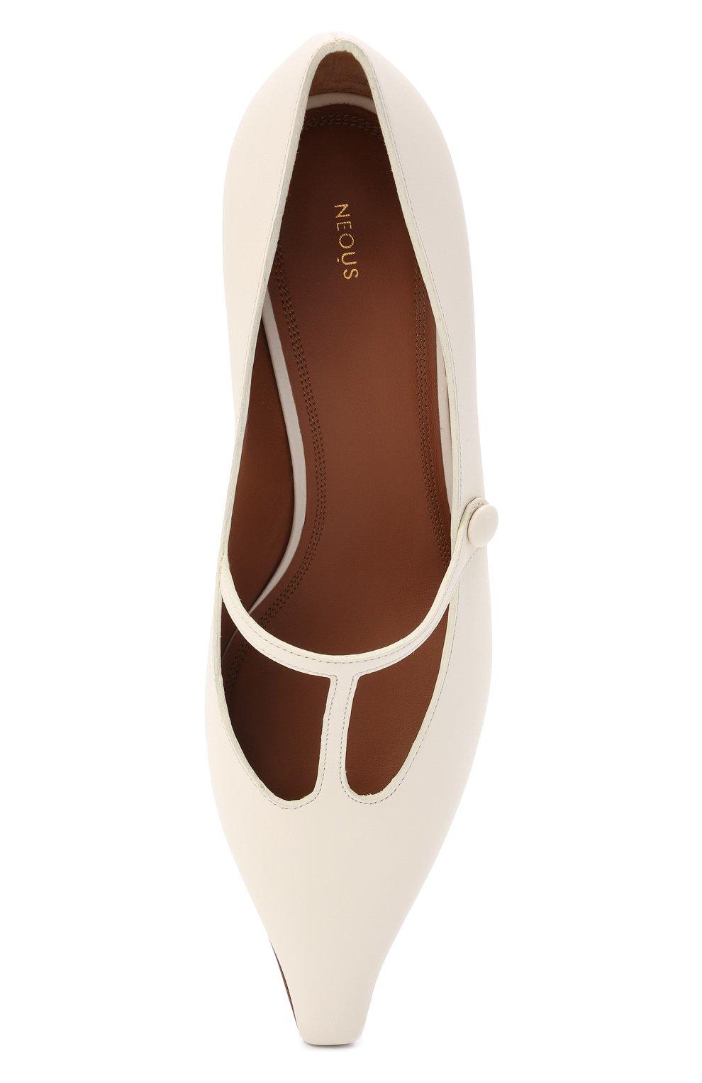 Женские кожаные туфли segin NEOUS белого цвета, арт. 00253A10   Фото 5 (Материал внутренний: Натуральная кожа; Каблук высота: Средний; Каблук тип: Устойчивый; Подошва: Плоская)