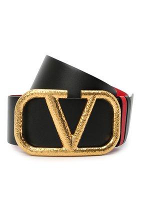 Женский кожаный ремень  VALENTINO черного цвета, арт. VW2T0S10/TAL | Фото 1 (Материал: Кожа)