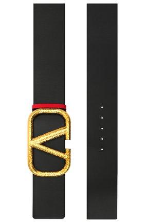 Женский кожаный ремень  VALENTINO черного цвета, арт. VW2T0S10/TAL | Фото 2 (Материал: Кожа)