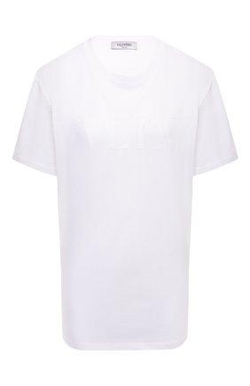 Женская хлопковая футболка VALENTINO белого цвета, арт. VB3MG11N68L | Фото 1