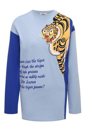 Женский хлопковый пуловер KENZO голубого цвета, арт. FB55TS1634SJ | Фото 1 (Длина (для топов): Удлиненные; Стили: Спорт-шик; Женское Кросс-КТ: Пуловер-одежда; Материал внешний: Хлопок; Рукава: Длинные)