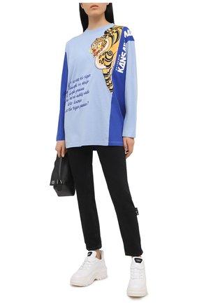 Женский хлопковый пуловер KENZO голубого цвета, арт. FB55TS1634SJ | Фото 2 (Длина (для топов): Удлиненные; Стили: Спорт-шик; Женское Кросс-КТ: Пуловер-одежда; Материал внешний: Хлопок; Рукава: Длинные)