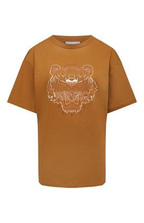 Женская хлопковая футболка KENZO коричневого цвета, арт. FB52TS9724YG   Фото 1 (Принт: С принтом; Рукава: Короткие; Женское Кросс-КТ: Футболка-одежда; Стили: Спорт-шик; Длина (для топов): Стандартные; Материал внешний: Хлопок)