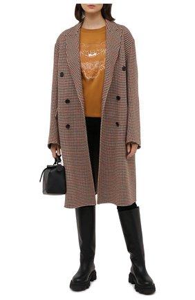 Женская хлопковая футболка KENZO коричневого цвета, арт. FB52TS9724YG   Фото 2 (Принт: С принтом; Рукава: Короткие; Женское Кросс-КТ: Футболка-одежда; Стили: Спорт-шик; Длина (для топов): Стандартные; Материал внешний: Хлопок)