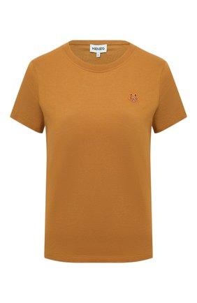 Женская хлопковая футболка KENZO коричневого цвета, арт. FB52TS8434SA | Фото 1