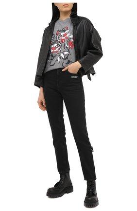 Женская хлопковая футболка KENZO серого цвета, арт. FB52TS6414SJ   Фото 2