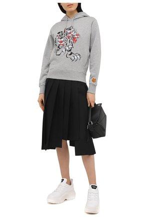 Женский хлопковое худи KENZO серого цвета, арт. FB52SW8744ML | Фото 2 (Материал внешний: Хлопок; Стили: Спорт-шик; Длина (для топов): Стандартные; Женское Кросс-КТ: Худи-одежда; Рукава: Длинные)