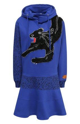 Женское хлопковое платье KENZO синего цвета, арт. FB52R07774M0 | Фото 1 (Женское Кросс-КТ: Платье-одежда; Случай: Повседневный; Стили: Спорт-шик; Длина Ж (юбки, платья, шорты): Мини; Материал внешний: Хлопок; Рукава: Длинные)