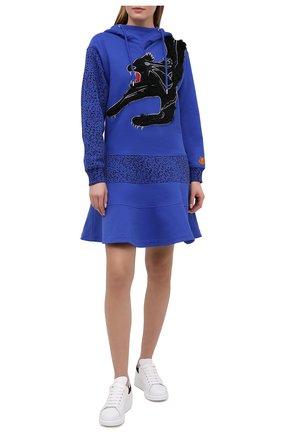 Женское хлопковое платье KENZO синего цвета, арт. FB52R07774M0 | Фото 2 (Женское Кросс-КТ: Платье-одежда; Случай: Повседневный; Стили: Спорт-шик; Длина Ж (юбки, платья, шорты): Мини; Материал внешний: Хлопок; Рукава: Длинные)