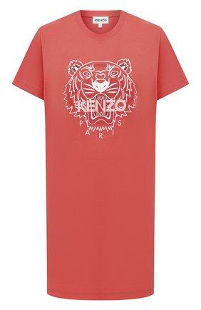 Женское хлопковое платье KENZO кораллового цвета, арт. FB52R07754YA | Фото 1 (Случай: Повседневный; Материал внешний: Хлопок; Женское Кросс-КТ: Платье-одежда; Стили: Спорт-шик; Длина Ж (юбки, платья, шорты): Мини; Рукава: Короткие)