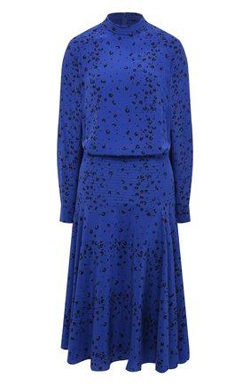Женское шелковое платье KENZO синего цвета, арт. FB52R0035521 | Фото 1
