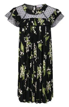 Женское платье REDVALENTINO разноцветного цвета, арт. VR3MJ06J/5PN | Фото 1 (Длина Ж (юбки, платья, шорты): До колена; Случай: Повседневный; Материал внешний: Синтетический материал; Стили: Романтичный; Женское Кросс-КТ: Платье-одежда; Рукава: Короткие)