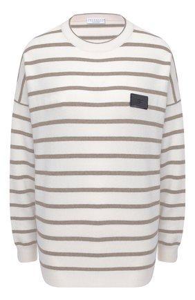 Женский пуловер из шерсти и кашемира BRUNELLO CUCINELLI бежевого цвета, арт. M16170300 | Фото 1