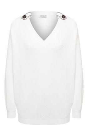 Женский хлопковый свитер BRUNELLO CUCINELLI белого цвета, арт. M19198302 | Фото 1