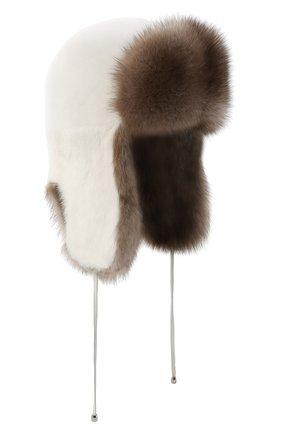 Женская шапка-ушанка из меха норки KUSSENKOVV бежевого цвета, арт. 91703631093 | Фото 1