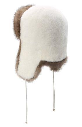 Женская шапка-ушанка из меха норки KUSSENKOVV бежевого цвета, арт. 91703631093 | Фото 2