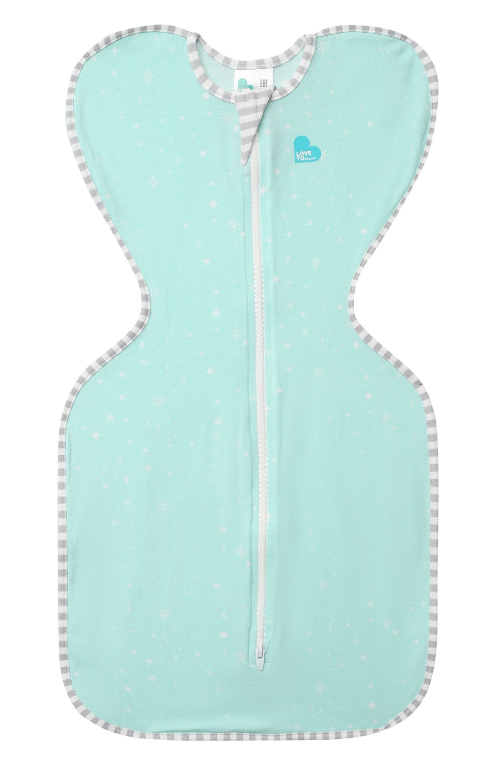Детский хлопковый комбинезон-мешок LOVE TO DREAM светло-зеленого цвета, арт. L10 02 030 MNT S   Фото 1 (Рукава: Короткие; Материал внешний: Хлопок; Ростовка одежда: 3 мес   62 см)