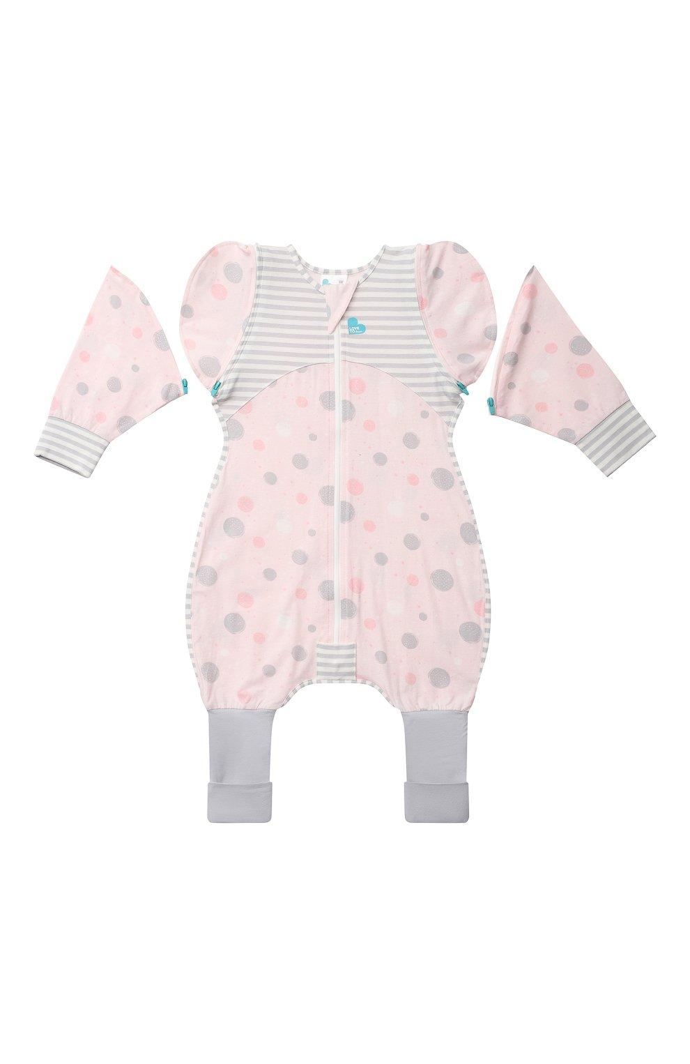 Детский комбинезон-конструктор для переходного этапа LOVE TO DREAM розового цвета, арт. L25 02 085 PNK XL   Фото 1 (Рукава: Короткие; Материал внешний: Хлопок; Ростовка одежда: 12 мес   80 см)