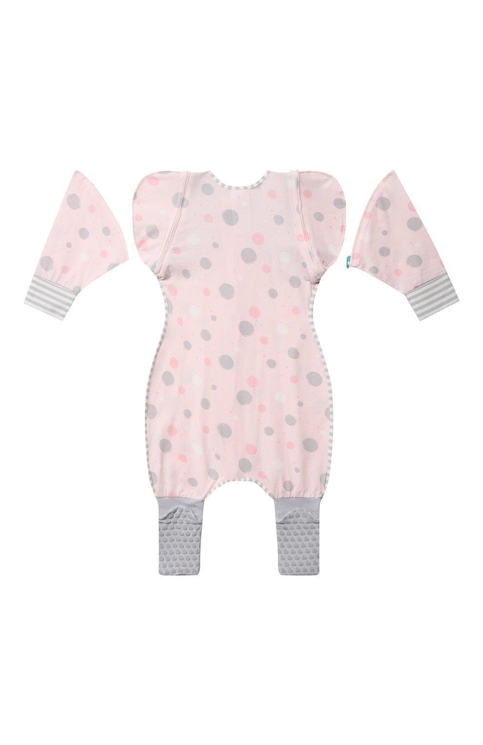 Детский комбинезон-конструктор для переходного этапа LOVE TO DREAM розового цвета, арт. L25 02 085 PNK XL   Фото 2 (Рукава: Короткие; Материал внешний: Хлопок; Ростовка одежда: 12 мес   80 см)