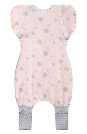 Детский комбинезон-конструктор для переходного этапа LOVE TO DREAM розового цвета, арт. L25 02 085 PNK XL   Фото 4 (Рукава: Короткие; Материал внешний: Хлопок; Ростовка одежда: 12 мес   80 см)