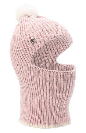 Детского хлопковая шапка-балаклава CHOBI светло-розового цвета, арт. WH-3012 | Фото 1
