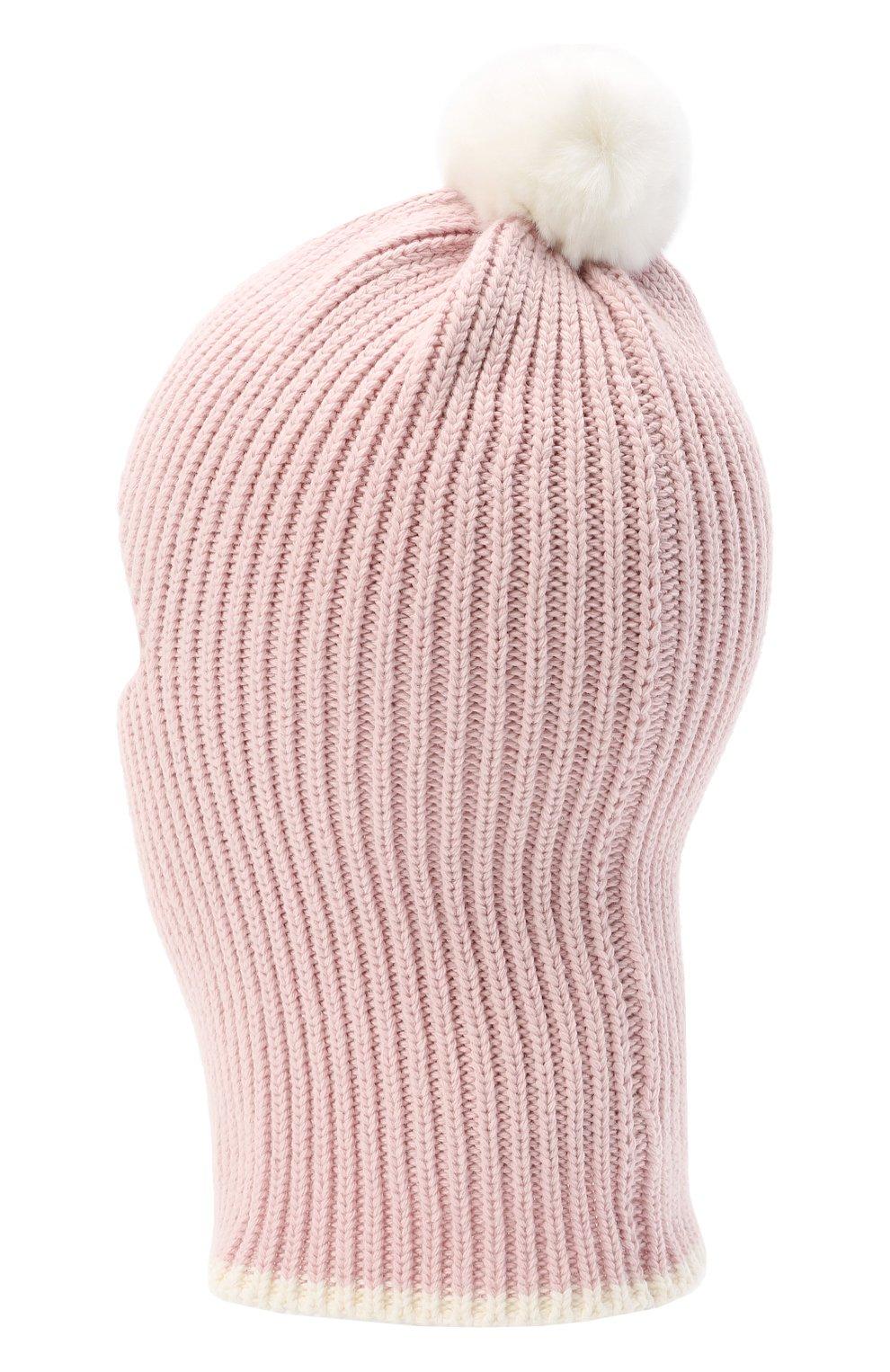 Детского хлопковая шапка-балаклава CHOBI светло-розового цвета, арт. WH-3012 | Фото 2