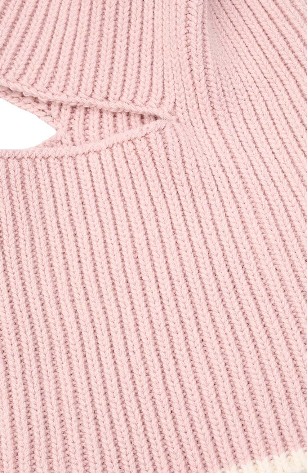 Детского хлопковая шапка-балаклава CHOBI светло-розового цвета, арт. WH-3012 | Фото 3