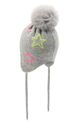 Детского шапка-балаклава CHOBI серого цвета, арт. WH-3034   Фото 2 (Материал: Текстиль, Шерсть, Вискоза)