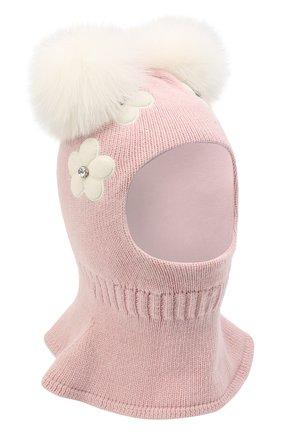 Детского хлопковая шапка-балаклава CHOBI светло-розового цвета, арт. WH-3054   Фото 1