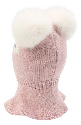Детского хлопковая шапка-балаклава CHOBI светло-розового цвета, арт. WH-3054   Фото 2